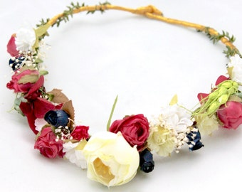 Peony,ivory,pink,dried , flowers,green,leafs,flower,crown,halo,headband,bridal,wedding,accesorie,boho,natural,woodland,fairy,blue,pink