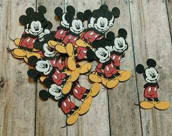 24 Mickey Mouse Die Cuts, Embellishments, Punches, Punchies,Toppers Scrapbooking, Favors, Parties, Disney, Project Life, Pocket Letters