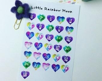 Month dates - watercolour hearts