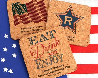 Patriotic Square Cork Coasters, Fourth of July, 4th of July, Memorial Day Decor, Personalized Cork Coasters, Patriotic Wedding - Set of 4