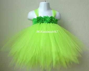 Tinkerbell tutu dress, tinker bell tutu, tinker bell costume, tinker bell dress, tinker bell halloween costume, baby tinker bell fairy tutu