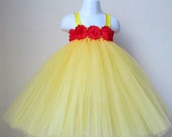 Yellow princess tutu dress, belle tutu, princess birthday tutu dress, baby yellow princess dress, first birthday tutu dress, belle costume