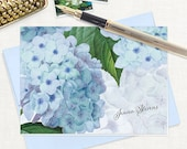 personalized stationery set - BLUE HYDRANGEA - set of 8 folded note cards - stationary - flower - botanical - floral - blue envelopes