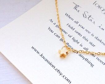 Tiny Star Necklace, gold star necklace, star necklace, dainty, inspirational, necklace, gold, star