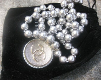 Vintage made in japan glass pearl silver beads