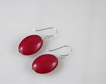 Red gemstone magnesite oval shaped bead sterling silver dangle and drop earrings, red bead earrings,