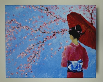 MADE- TO- ORDER  Japanese Original Painting Cherry Blossom Tree Painting on Canvas