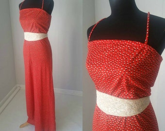 SALE 25% OFF!!! 70s Howard Wolf Orange Jumpsuit with Black and White dots