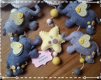 Elephants Baby Mobile, Nursery Decor, Baby Shower Gift, Peronalised Baby Mobile, Baby Mobile, Elephants Theme Nursery