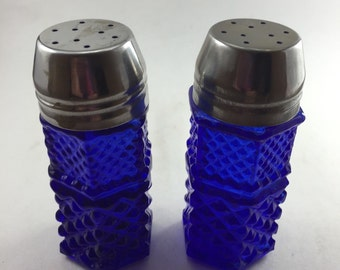Cobalt Pressed Salt and Pepper Shakers