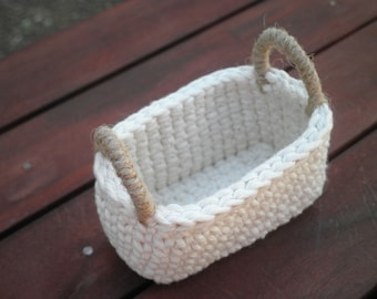 Little Oval Crochet Basket with Handles, Country Home Decor, Natural Colors, Miniature Basket,Gift for Women,Cozy Home Decor,Storage Basket