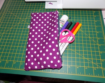 Purple Polka Dot Pencil Case