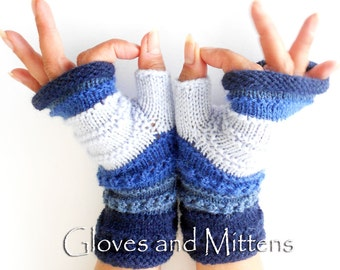 Blue Knitted Striped gloves, Fingerless Hand Warmers, Blue Wrist Warmers, Fingerless gloves, Christmas gift, Gift for Woman.