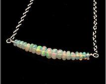 SALE: 10% Off AAA Ethiopian Opal Choker Necklace, Genuine Beaded Opal, 925 Sterling Silver, Gemstone Bar, Australian Opal,October Birthstone