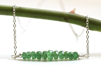 Rare Tsavorite Garnet Necklace, Natural Green Garnet Bar Necklace, Sterling Silver, Handmade UK, January Birthstone, Gift for Her