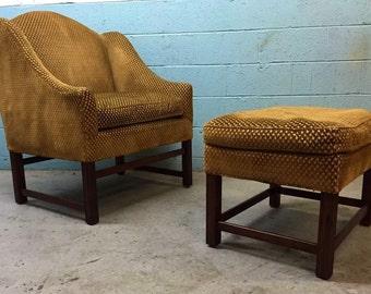 Custom Vintage Lounge Chair and Ottoman
