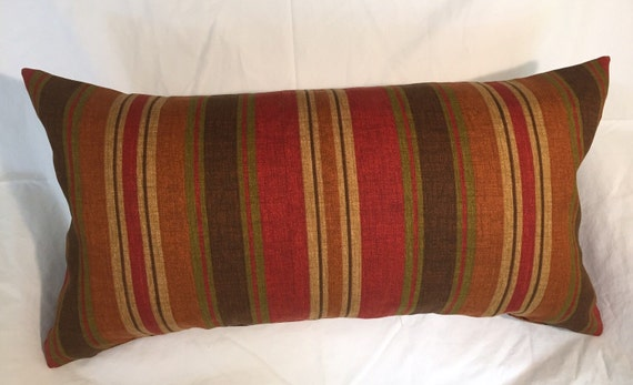 Red Tan And Brown Throw Pillows : Red Brown Green Tan Stripe Decorative Pillow Cover Throw