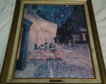 1950s Vintage museum quality replica of Vincent van Gogh cafe  terrace at night with beautiful antique wood crafted frame.