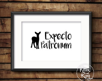 Expecto Patronum | Harry Potter Spell Quote | Deathly Hallows | A4, A3 and A2 Wall Art | Poster Art Wall Décor Wall Hanging |Kitten and King