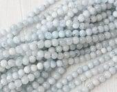 6mm Aquamarine Round Beads Jewelry Supply AB Grade Genuine Quality Mala Beads Light Blue Authentic Gemstone