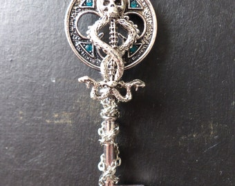 """The dark mark"" Silver fantasy key necklace"
