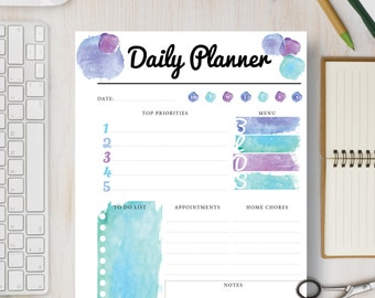 Blue Printable Daily Planner Pages, Printable Day Planner, Daily Organizer, Schedule: Sizes - A4 A5 Letter & Half |#539