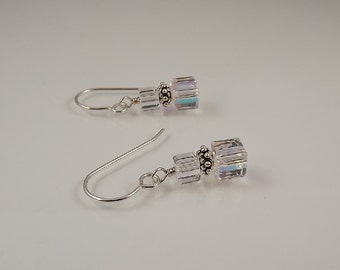 Petite Swarovski Clear Crystal Cube Aurora Borealis Sterling Silver Earrings Wedding Bridal Prom
