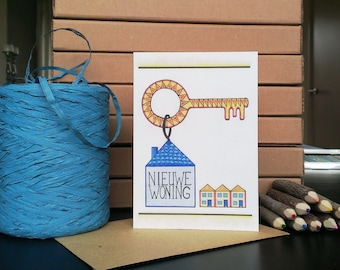 Card New House - A6 Greeting Card with Envelope - Blank Card - New House - Card Recycled Paper.