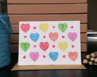 Card Hearts Pattern - A6 Greeting Card with Envelope - Blank Card - Just Because Card - Card Recycled Paper.