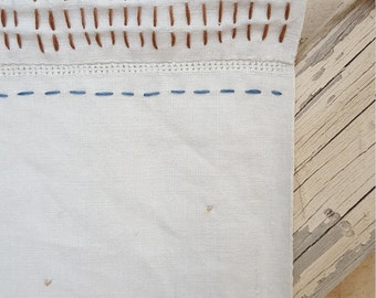 Blues and Browns vintage linen hanging, hand stitched textile art
