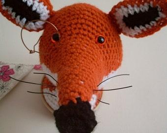 Crochet taxidermy, Fox head, Foxy Farquart the First, fox, crochet, trophy head, wall art, faux taxidermy,