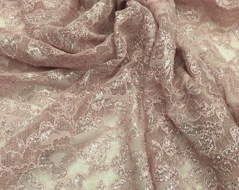 4 Way Stretch Metallic Lace Dusty Rose with Scallop Edge on both sides / by the yard