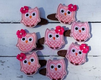 Felt hair clips.Owl,frog,monkey,ladybug,butterfly Hair Clip. One set (2 clips)