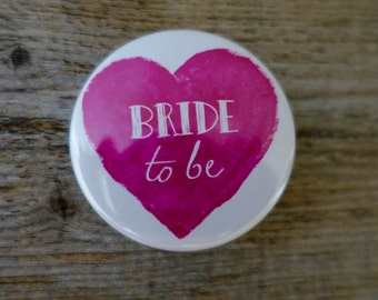 1x Pink Heart Bride to Be Badge