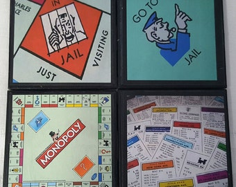 Monopoly Ceramic Tile Drink Coasters / Monopoly Coaster Set / Set of 4