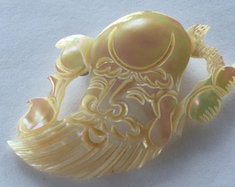 Vintage Carved Mother of Pearl Shoulau Pin Chinese South Pole God