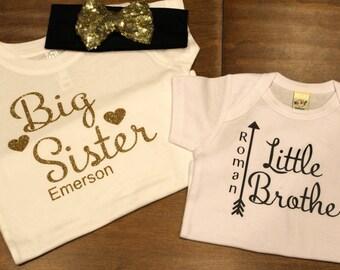 Big Sister Shirt, Little Brother Shirt,Big Sis Shirt, Big Sister Little brother shirt set, Big Sister, Little Brother Personalized Shirt