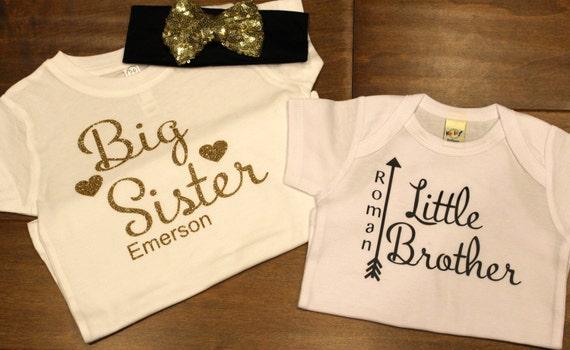 Custom Glitter Birthday Big Brother Sister Shirts by