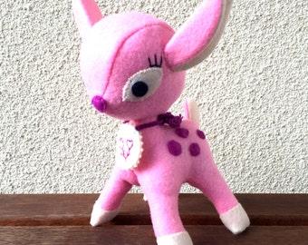 Bambi Toy, Felt Bambi, Pink Bambi, Felt Toys, Handmade Bambi,Bambi Gift