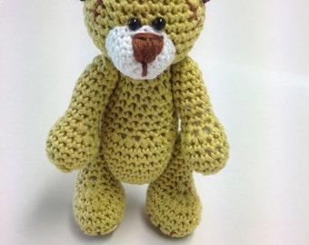 Crochet Amigurumi Teddy Bear, Crochet Yellow-Brown Teddy Bear, Stuffed Teddy Bear, Teddy Bear, Crochet Bear, Amigurumi Bear