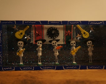 Mexican day of the dead mariachi diorama