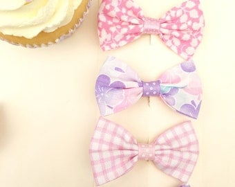 Hair bow set - Pink and Purple 2