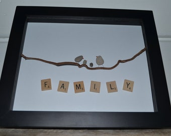Family Love, Shadow box, Pebble art, one of a kind,