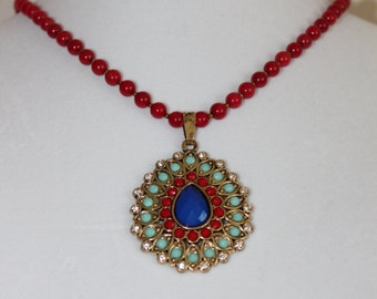 Red bamboo coral necklace with royal Indian pendent