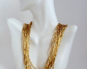 Gold Beaded Multi Strand Necklace, Gold Beads Bib Necklace
