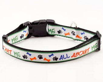 "All About Me Dog Collar (1"" width)"