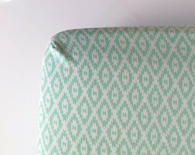 Mint green kilim fitted crib sheet