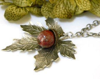 Lampwork Necklace, Leaf Pendant, Artisan Made, Silver Necklace, Handmade Necklace, Long Necklace, Autumn Necklace, Acorn Necklace