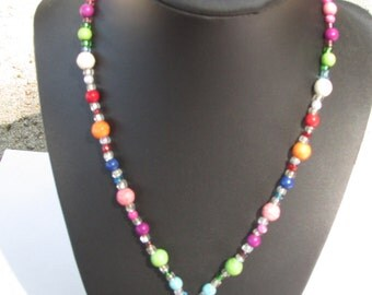 Rainbow Beaded Peace Necklace
