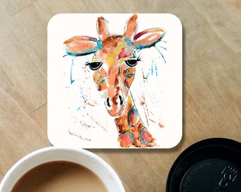 Giraffe coaster, ceramic coaster, giraffe gift, table coaster, drink coaster, housewarming gift, coaster, giraffe, home decor